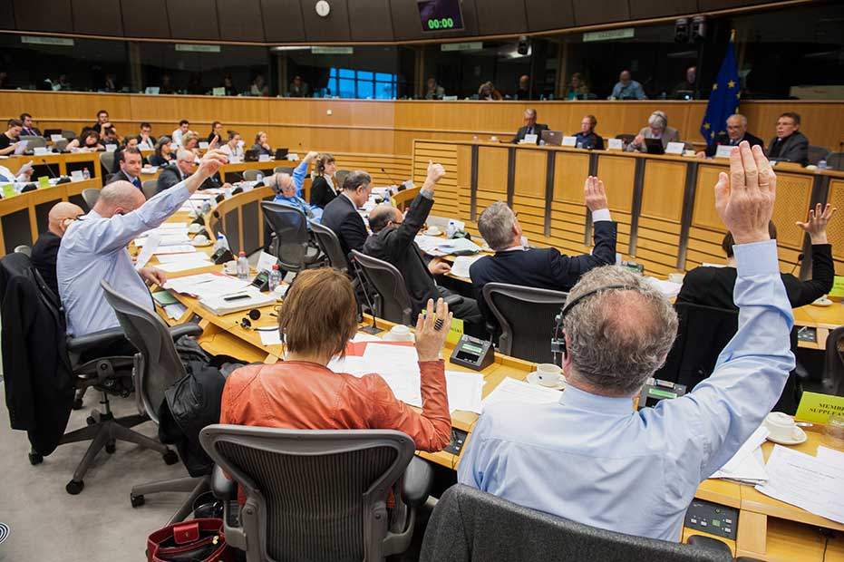 Members voting during the AFCO Committee meeting. © European Union 2014 - Source EP